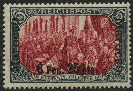 DP IN MAROKKO 19I/I *, 1900, 6 P. 25 C. Auf 5 M., Type I, Falzrest, Pracht, Fotoattest Jäschke-L., Mi. 1300.-