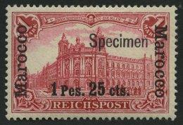 DP IN MAROKKO 16ISP *, 1900, 1 P. 25 C. Auf 1 M., Type I, Aufdruck Specimen, Falzrest, Pracht, Signiert, Mi. 180.-