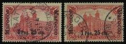 DP IN MAROKKO 16I O, 1900, 1 P. 25 C. Auf 1 M., Type I, Mit Höher Und Tiefer Stehendem Aufdruck, 2 Prachtwerte