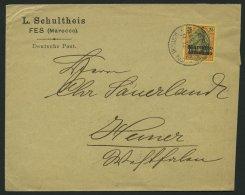 DP IN MAROKKO 11 BRIEF, 1900, 30 C. Auf 25 Pf. Mit Stempel FES Nach Hemer, Prachtbrief
