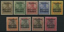 DP IN MAROKKO 7-15SP *, 1900, 3 C. Auf 3 Pf. - 1 P. Auf 80 Pf. Reichspost Mit Aufdruck Specimen, Falzrest, 9 Prachtwerte