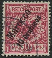 DP IN MAROKKO 3d O, 1899, 10 C. Auf 10 Pf. Lilarot, üblich Gezähnt Pracht, Gepr. Jäschke-L., Mi. 100.-