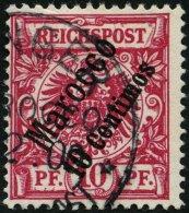 DP IN MAROKKO 3d O, 1899, 10 C. Auf 10 Pf. Lilarot, Pracht, Gepr. Jäschke-L., Mi. 100.-
