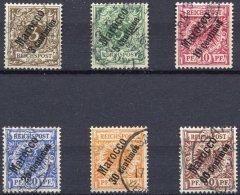 DP IN MAROKKO 1-6 O, 1899, Steiler Aufdruck, Prachtsatz, Mi. 120.-