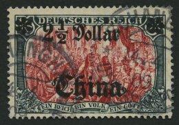 DP CHINA 47IALIIPFI O, 1907, 21/2 D. Auf 5 M., Mit Wz., Abstand 9 Mm, Mit Abart Linke Rosette Auf Der Spitze, Normale Z&