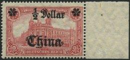 DP CHINA 44IIBR **, 1919, 1/2 D. Auf 1 M., Mit Wz., Kriegsdruck, Aufdruck Glänzend, Postfrisch, Pracht, Mi. 65.-