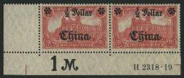 DP CHINA 44IIBR HAN **, 1919, 1/2 D. Auf 1 M., Mit Wz., Kriegsdruck, Aufdruck Glänzend, Im Waagerechten Paar Aus De