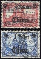 DP CHINA 44IAI,45IAII O, 1906/7, 1/2 D. Auf 1 M. Und 1 D. Auf 2 M., Mit Wz., Friedensdruck, 2 Werte üblich Gez&auml