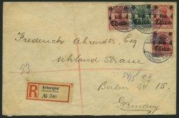 DP CHINA 39/40 BRIEF, 1915, 2 C. Auf 5 Pf. Und 4 C. Auf 10 Pf. (3x), Mit Wz., Auf Einschreibbrief Von SHANGHAI Nach Berl
