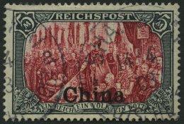 DP CHINA 27IV O, 1901, 5 M. Reichspost, Type I, Nachmalung Nur Mit Deckweiß, Pracht, Fotoattest Jäschke-L., M