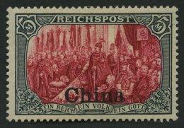 DP CHINA 27III *, 1901, 5 M. Reichspost, Type I, Nachmalung Mit Rot Und Deckweiß, Falzreste, Matter Gummi Sonst Pr