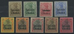 DP CHINA 15-23SP *, 1901, 3 - 80 Pf. Reichspost Mit Aufdruck SPECIMEN, Falzrest, 9 Prachtwerte, Mi. 2520.-