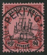 DP CHINA P VIi O, Petschili: 1901, 80 Pf. Kiautschou, Idealer Zentrischer K1 PEKING, Kabinett, Signiert Schmidl Und Foto
