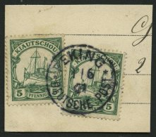 DP CHINA P VIb BRIEF, Petschili: 1901, 5 Pf. Kiautschou, 2x Auf Postkartenabschnitt, Stempel PEKING, Pracht