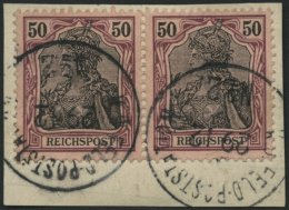 DP CHINA P Vg Paar BrfStk, Petschili: 1900, 50 Pf. Reichspost Im Waagerechten Paar Auf Postabschnitt (rückseitige T