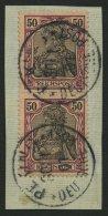 DP CHINA P Vg Paar BrfStk, Petschili: 1900, 50 Pf. Reichspost Im Senkrechten Paar, Stempel PEKING, Prachtbriefstück