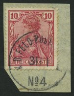 DP CHINA P Vc BrfStk, Petschili: 1900, 10 Pf. Reichspost, Stempel K.D. FELD-POSTSTATION No. 4, Prachtbriefstück