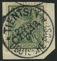 DP CHINA 9 BrfStk, 1901, 5 Pf. Handstempelaufdruck, Stempel TIENTSIN 27.9.01 Prachtbriefstück, Fotoattest Jäsc