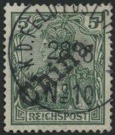 DP CHINA 9 O, 1900, 5 Pf. Handstempelaufdruck Mit Sehr Seltenem K1 K.D. FELD-POSTSTATION No. 10 (KAIPING), Feinst, R!, F
