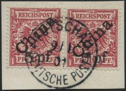 DP CHINA 7IB Paar BrfStk, 1900, 5 Pf. Auf 10 Pf. Diagonaler Aufdruck Im Waagerechten Paar Auf Briefstück, Zentrisch