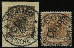 DP CHINA 1IIaBrfStk,1IIb O, 1898, 3 Pf. Dunkelockerbraun Stempel TSCHIFU Und Hellockerbraun Stempel PEKING, 2 Zentrisch