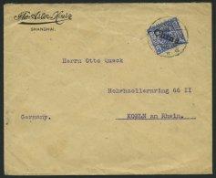 DP CHINA 4I BRIEF, 1899, 20 Pf. Diagonaler Aufdruck Mit Stempel SHANGHAI ** A, Prachtstück Auf Etwas Knitterigem Br