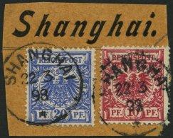 DP CHINA M 47e,48d BrfStk, 1898, 10 Pf. Dunkelrosa Und 20 Pf. Violettultramarin Auf Briefstück Mit Stempel SHANGHAI