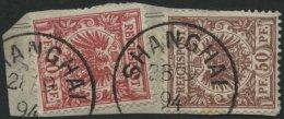 DP CHINA V 47c,50c BrfStk, 1894, 10 Pf. Mittelrot (dunkelgelb Quarzend) Und 50 Pf. Mittelbraunrot Auf Briefstück Mi