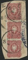 DP CHINA V 41b BrfStk, 1890, 10 Pf. Lebhaftrotkarmin Im Senkrechten Dreierstreifen, Stempel KDPAG SHANGHAI, Prachtbriefs
