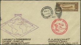 ZEPPELINPOST 64G BRIEF, 1930, Heimfahrt, US-Post, Bestätigungsstempel Type II, Frankiert Mit 1.30 $, Prachtbrief