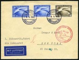 ZEPPELINPOST 57F BRIEF, 1930, Südamerikafahrt, Bordpost, Fr`hafen-Lakehurst, Prachtbrief