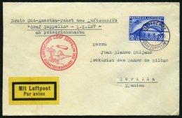 ZEPPELINPOST 57A BRIEF, 1930, Südamerikafahrt, Bordpost, Fr`hafen-Sevilla, Prachtbrief