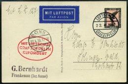 ZEPPELINPOST 54B BRIEF, 1930, Landungsfahrt Nach Bonn, Bordpost Der Hinfahrt, Prachtkarte