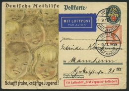 ZEPPELINPOST 49B BRIEF, 1929, Fahrt Nach Frankfurt, Bordpost, Stempel Vom 9.11.29, Karte Feinst (Randmängel)