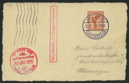 ZEPPELINPOST 44B BRIEF, 1929, Spanienfahrt, Bordpost, Bordstempel 13.Okt.1929 Statt 23.Okt.1929, Prachtkarte