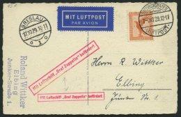 ZEPPELINPOST 43A BRIEF, 1929, Schlesienfahrt, Auflieferung Friedrichshafen, Mit Tagesstempel, Abwurf Breslau, Mit Gro&sz