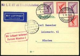 ZEPPELINPOST 38e BRIEF, 1929, Bayernfahrt, Abwurf München, Prachtkarte