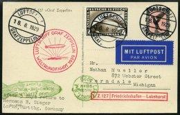 ZEPPELINPOST 30Bc BRIEF, 1929, Weltrundfahrt, Bordpost, Fr`hafen-Lakehurst, Frankiert Mit 4 RM, Prachtkarte