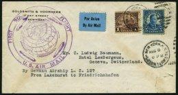 ZEPPELINPOST 28A BRIEF, 1929, Weltrundfahrt, US-Post, Lakehurst-Fr`hafen, Prachtbrief