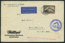 ZEPPELINPOST 26A BRIEF, 1929, Amerikafahrt, Auflieferung Friedrichshafen, Frankiert Mit 4 RM, Verzögerungsstempel I