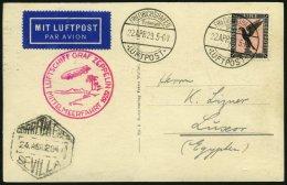 ZEPPELINPOST 24A BRIEF, 1929, Mittelmeerfahrt, Poststempel Fr`hafen, Prachtkarte