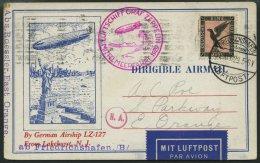 ZEPPELINPOST 24A BRIEF, 1929, Mittelmeerfahrt, Poststempel Fr`hafen, Karte Feinst