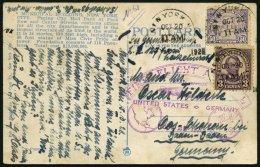 ZEPPELINPOST 22B BRIEF, 1928, Amerikafahrt, US-Post Zur Rückfahrt Mit Poststempel, Prachtkarte