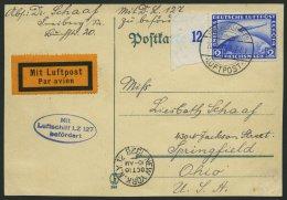 ZEPPELINPOST 21A BRIEF, 1928, Amerikafahrt, Frankiert Mit Linkem Randstück 2 RM Zeppelinmarke, Karte Feinst