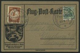 ZEPPELINPOST 15 BRIEF, 1912, 20 Pf. E.EL.P. Auf Flugpost-Sonderkarte Mit 5 Pf. Zusatzfrankatur, Sonderstempel FRANKFURT