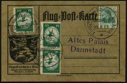 ZEPPELINPOST 12a BRIEF, 1912, 30 Pf. Flp. Auf Rhein Und Main, 3x Auf Flugpost-Sonderkarte, Sonderstempel Darmstadt 23.6.