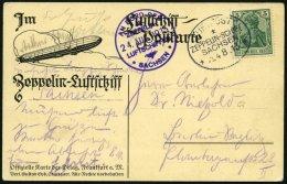 ZEPPELINPOST 8a BRIEF, 1913, Luftschiff Sachsen, Bordpoststempel Und Bordstempel Vom 24.8.13 Von Der Fahrt Leipzig - Sch