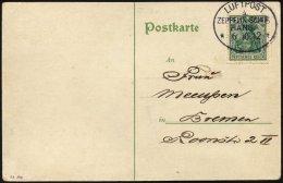 ZEPPELINPOST 6I BRIEF, 1912, Luftschiff Hansa, Fahrt Hamburg-Bremen-Hamburg Vom 6.10.1912, Mit Bordpoststempel In Type I
