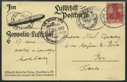 ZEPPELINPOST 4a BRIEF, 1913 Luftschiff Victoria-Luise, Bordpoststempel Und Bordstempel Vom 17.8.1913, Absender Anatole F