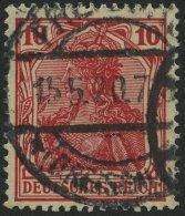 Dt. Reich 86IIf O, 1919, 10 Pf. Dunkelrosarot Kriegsdruck, Normale Zähnung, Pracht, Gepr. Jäschke-L., Mi. 200.